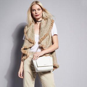 Metric Knits Fur Trim Open Cascading Vest Tan  M/L